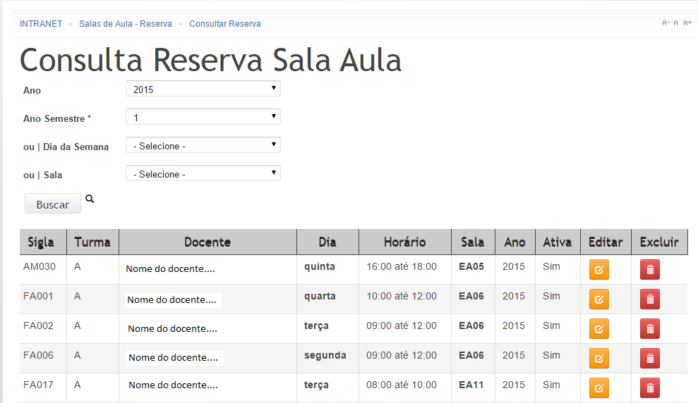 Search/List Reserva Sala Aula
